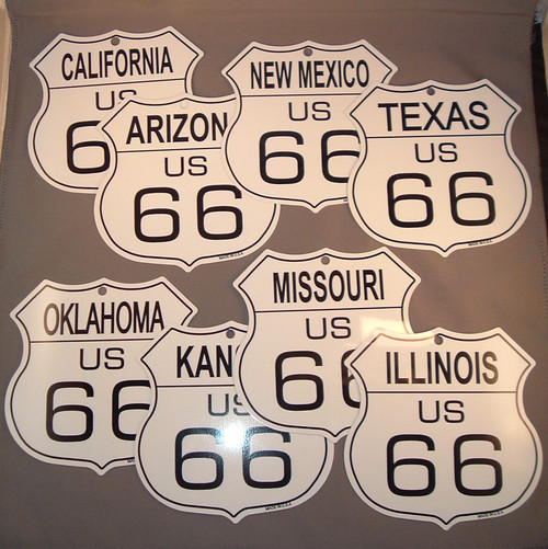 Small 8 State Route 66 Shield Set