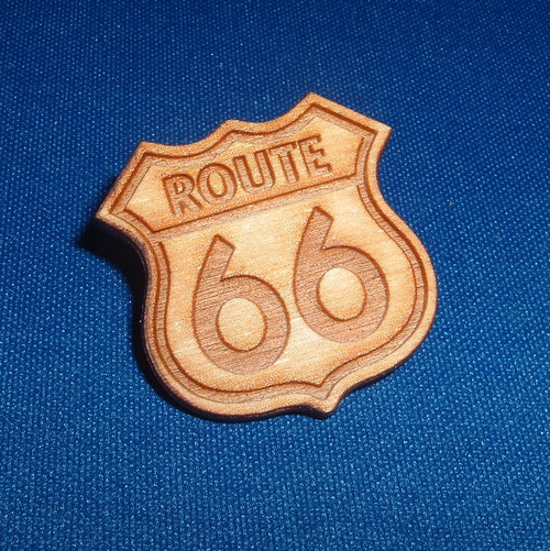 Wood Route 66 Pin
