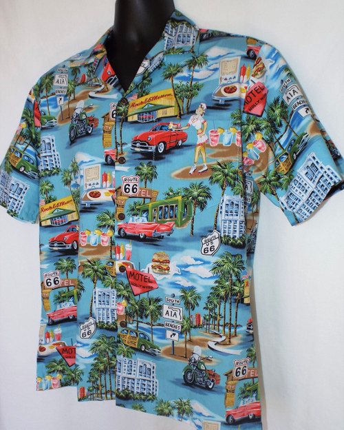 Blue Hawaii Route 66 Shirt