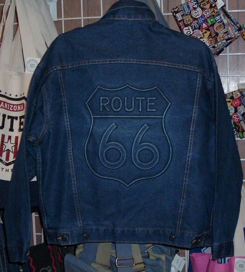 back of Route 66 Embossed Denim Jacket