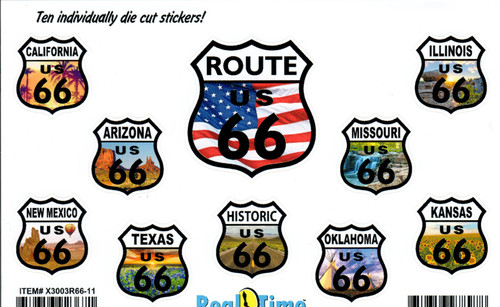 Route 66 Sticker Set with State Pictures