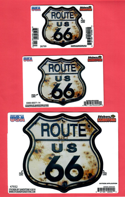 Bullet Route 66 Shield Stickers: Mini, Small, Large