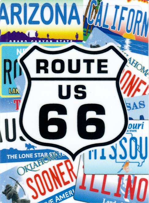 The License Plates of Route 66 Sticker