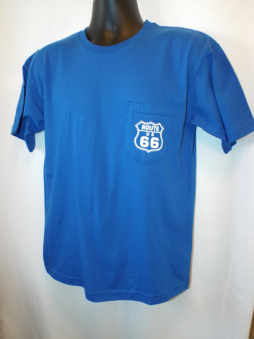 Blue Route 66 Pocket T-shirt FRONT