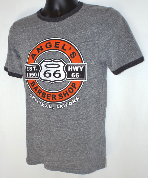 Angel's Barber Shop on Hwy 66 Seligman Arizona Ringer Tee