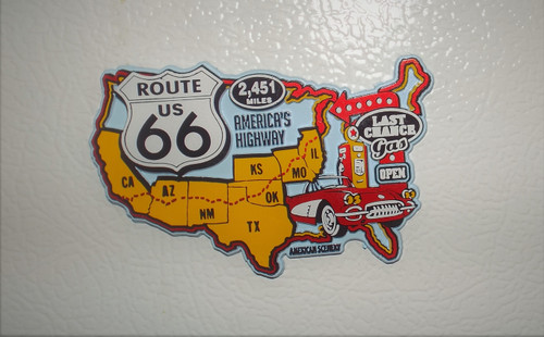 Rubber Route 66 Map Magnet