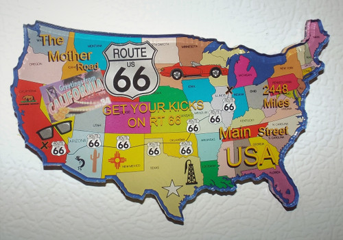 Acrylic Route 66 Map Magnet