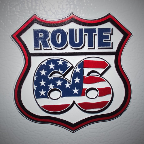Route 66 Stars & Stripes Large Rubber Magnet