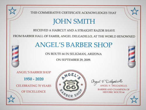 Personalized Barber Shop Certificate Signed by Angel Delgadillo