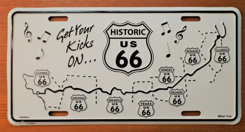 Historic Route 66 A musical road license plate