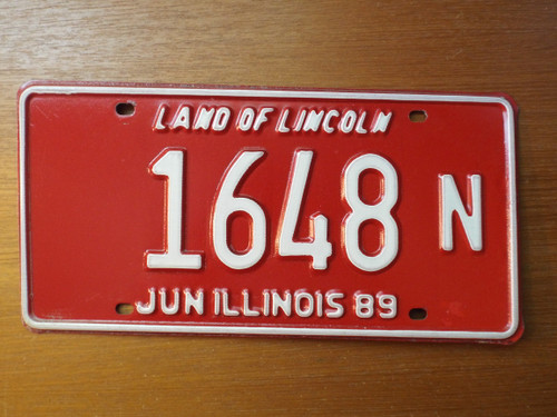 Illinois 1989 License Plate