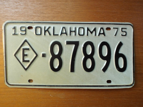 Oklahoma 1975 License Plate