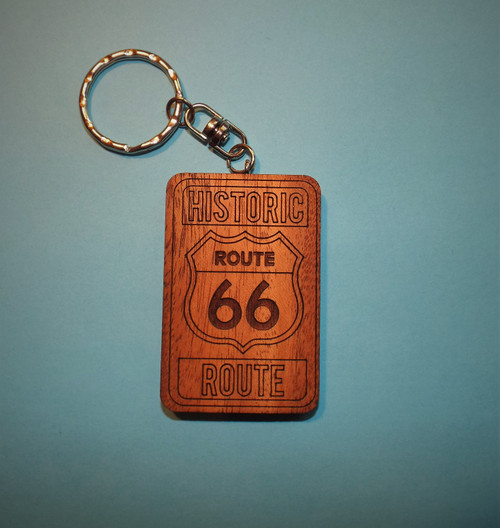 Wood Route 66 Key Ring