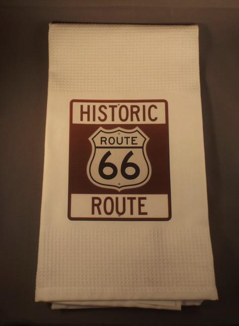 Historic Route 66 Waffle Tea Towel