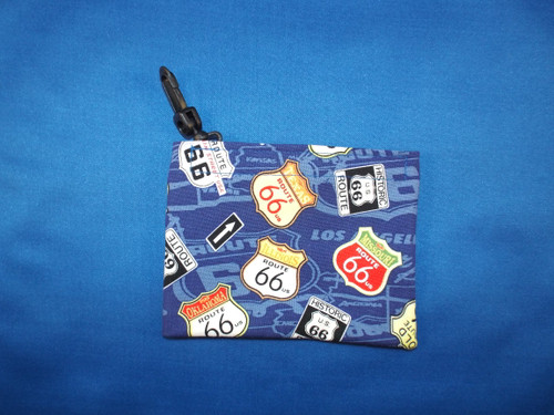 Mini Velcro Keeper Purse Blue Map