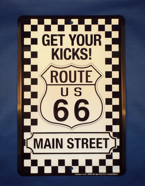 Checkered Get Your Kicks on Route 66 Sign