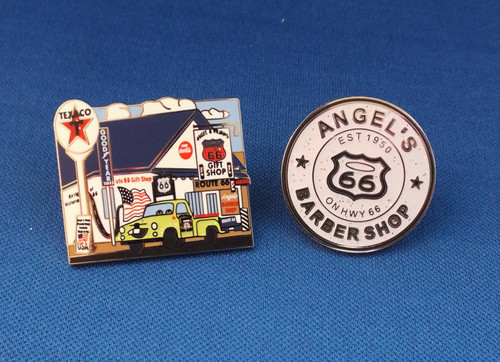 Angel & Vilma's Original Route 66 Gift Shop pin & Angel's Barber Shop pin set