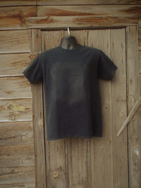 Black embossed Route 66 T-shirt Made in USA