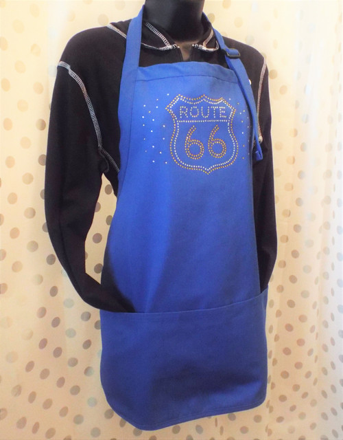 Blue Route 66 Bling Apron - Made in the USA