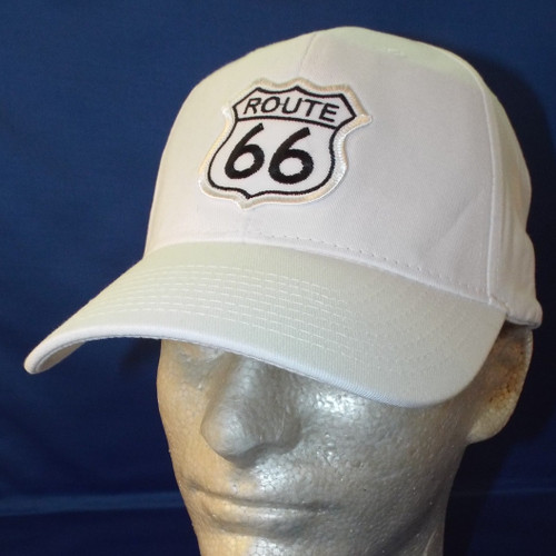 White Route 66 Shield Patch Cap Made in the USA
