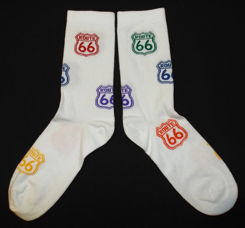 White Multicolor Route 66 Shield Socks (Made in USA)
