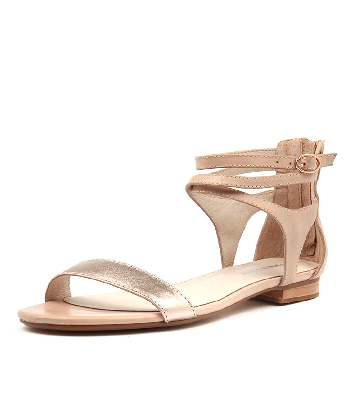 PLEASE Sandals Rose Gold Nude Leather Django and Juliette