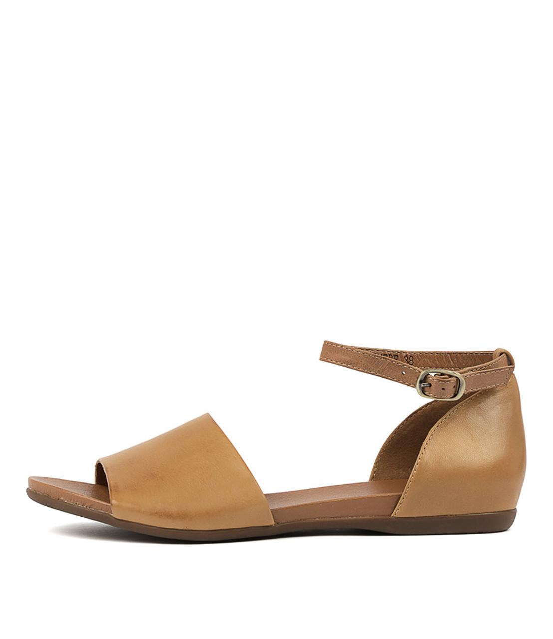 BIMERE Sandals Tan Dark Tan Leather Django and Juliette