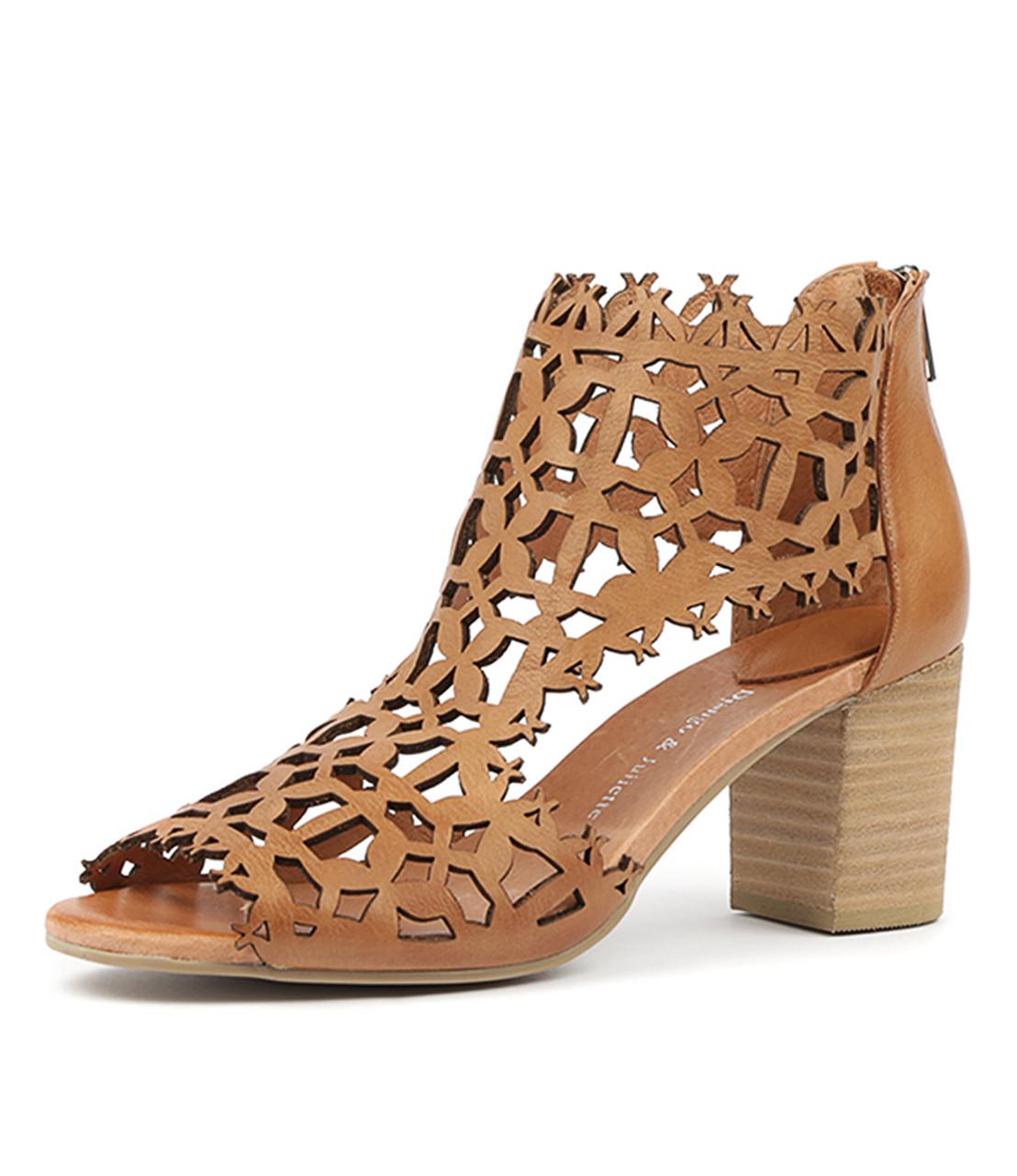 SHANON Heels Sandals Dark Tan Leather Django and Juliette