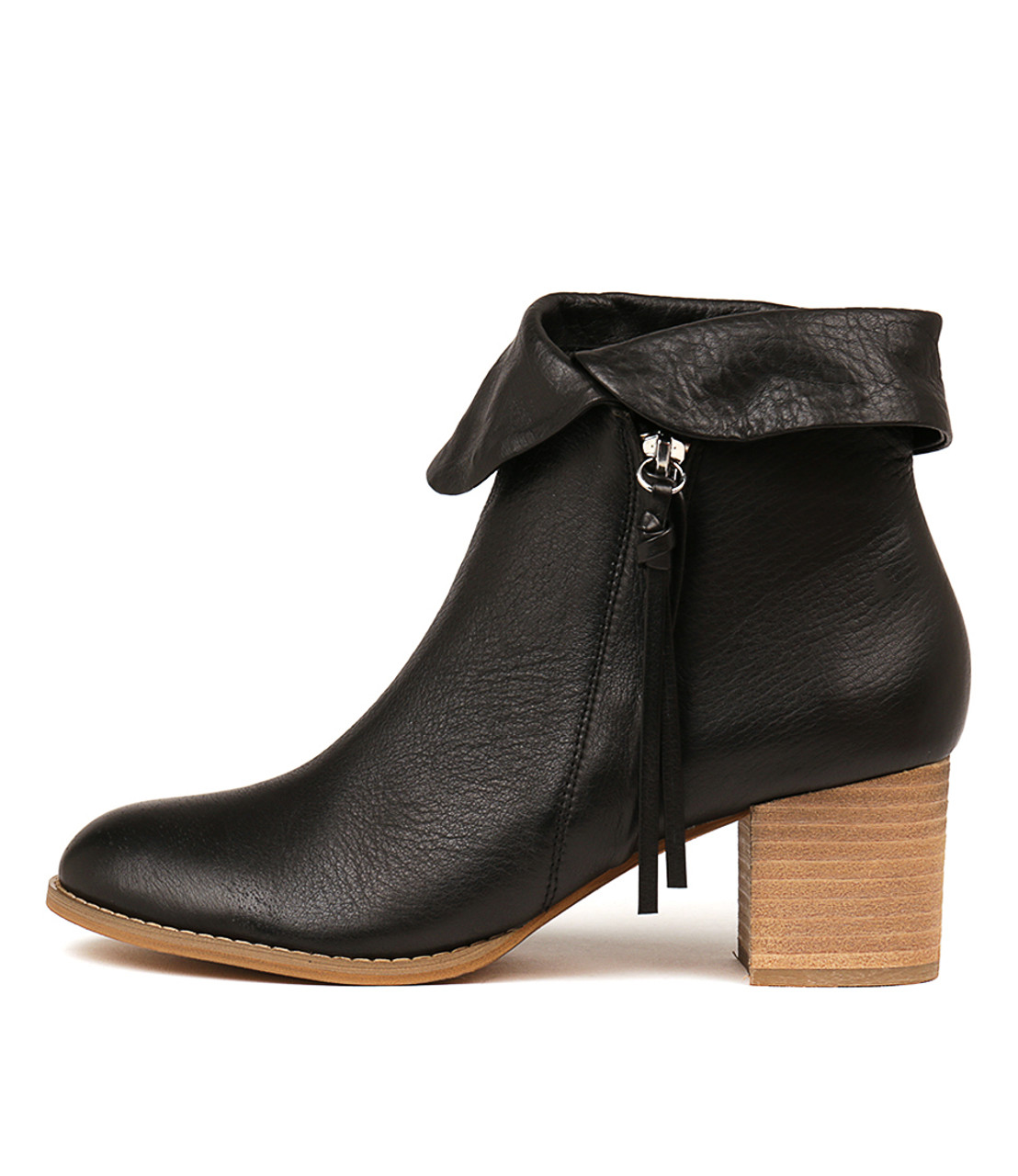 60218a8ae99 SHAREEDS Ankle Boots in Black Leather/ Natural Heel - Django and ...