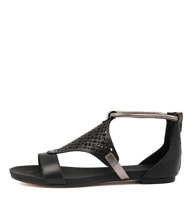 JIMBLE Sandals Black Pewter Leather
