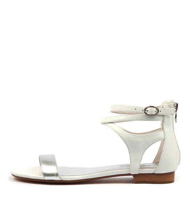 PLEASE Sandals in Silver/ White Leather