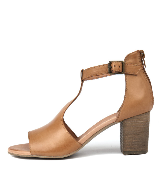 SORELY Heeled Sandals in Dark Tan Leather