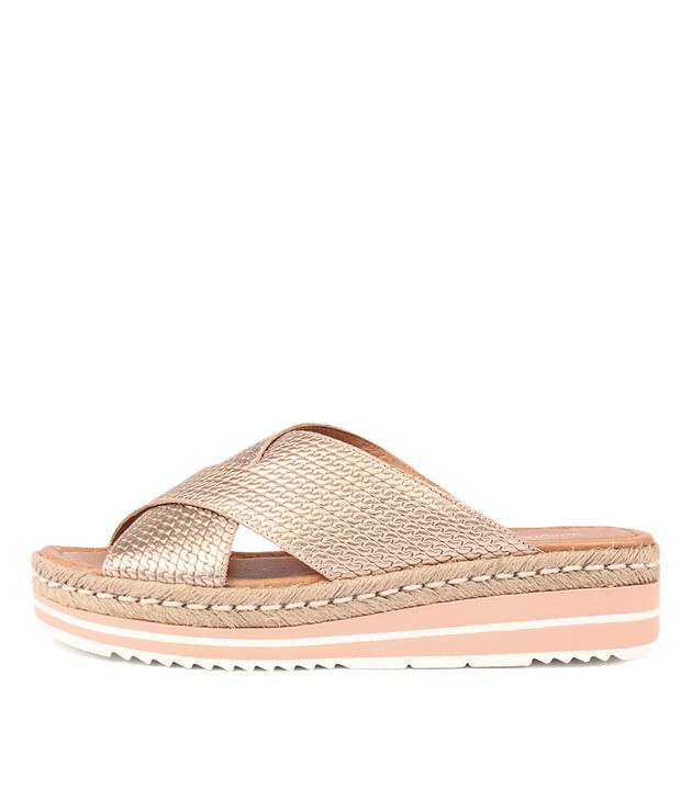 ADEEMUS Flatform Sandals in Rose Gold Leather