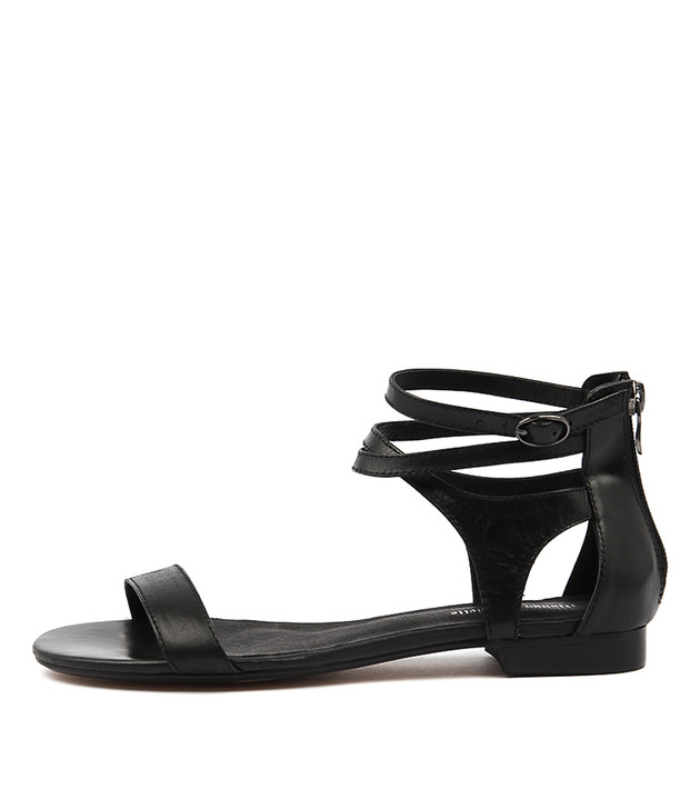 PLEASE Sandals in Black Leather