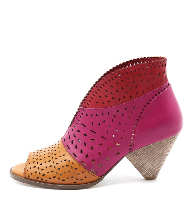 OSHI Heeled Sandals in Orange/ Fuchsia Leather