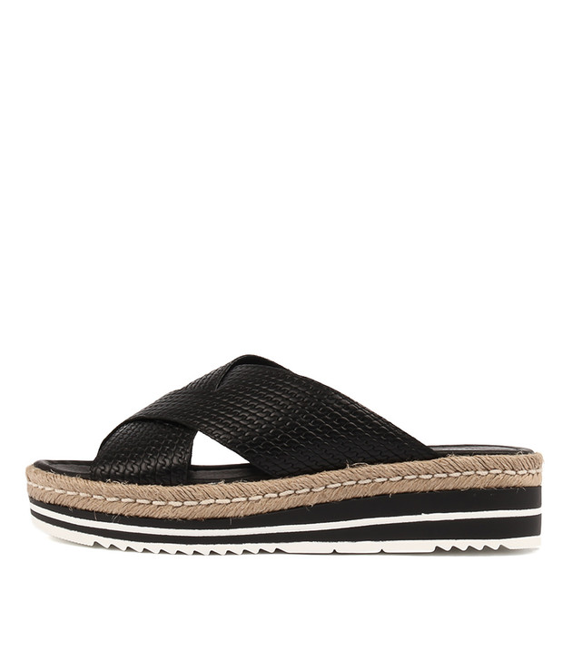 ADEEMUS Sandals Flatform Sandals Black Leather