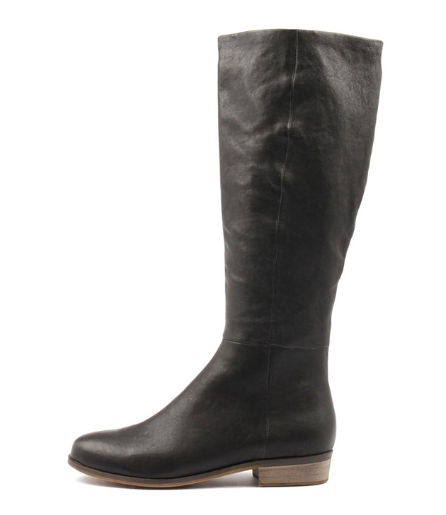 STRATH Knee High Boots in Black Leather