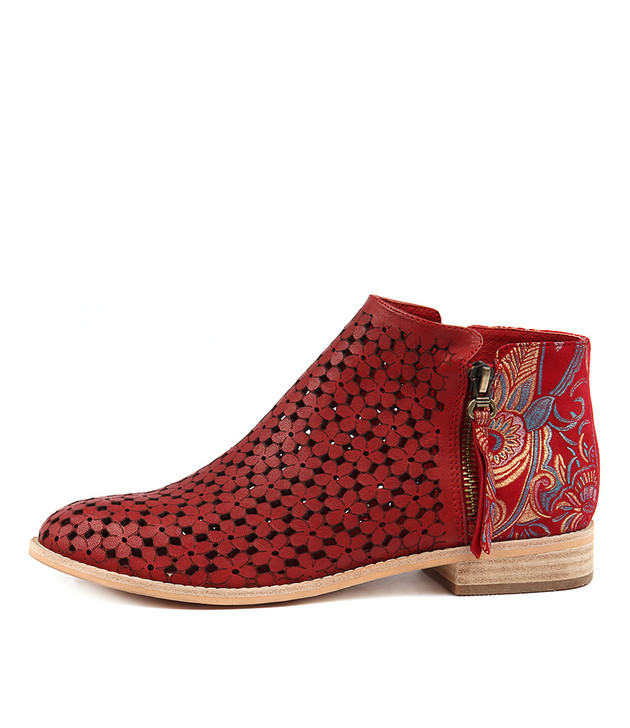 ALEX Ankle Boots in Paisley Print/ Red Leather
