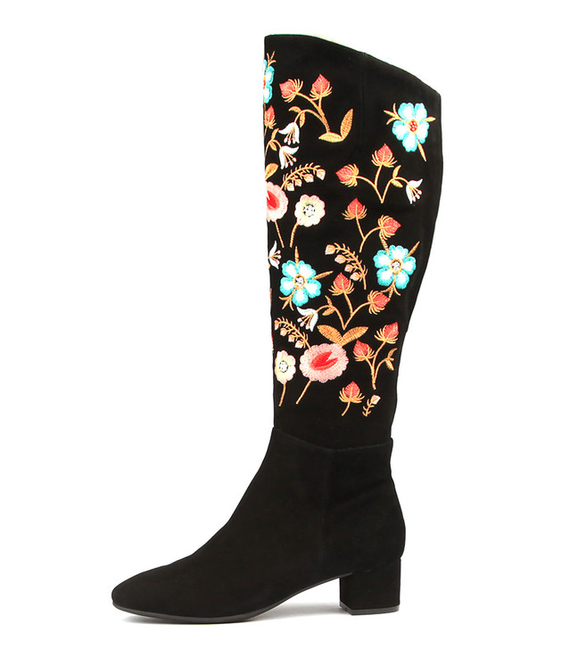 JONTONAR Boots Black Embroidered Suede