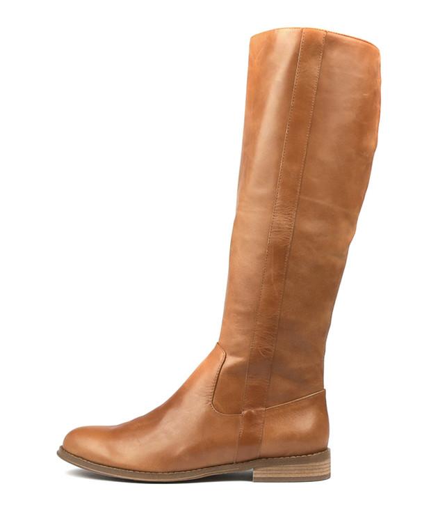 YARARI Knee High Boots in Dark Tan Leather