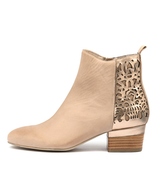 GIRLL Boots Nude Rose Gold Leather
