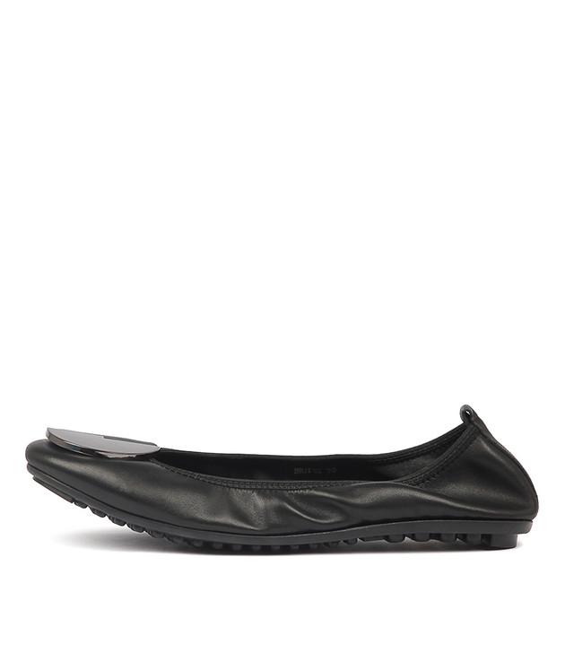 BRIPES Flats Black Leather
