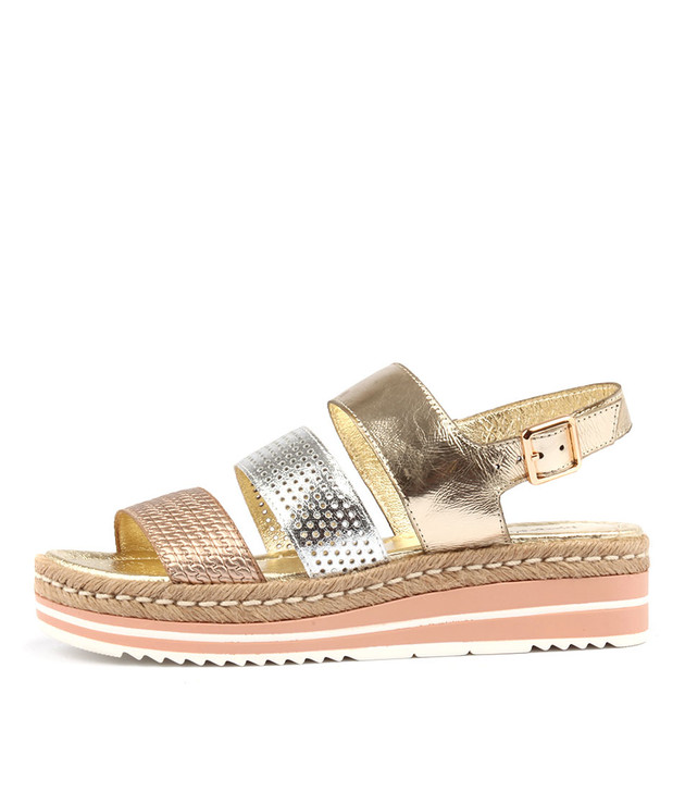 AKIDNA Sandals Pale Gold Silver Multi Leather