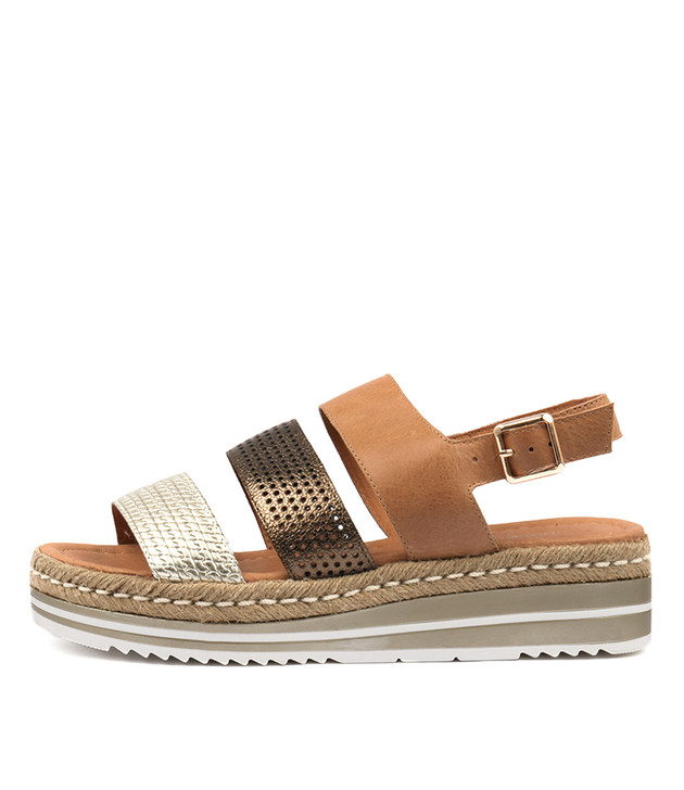 AKIDNA Flatform Sandals in Tan/ Bronze/ Multi Leather