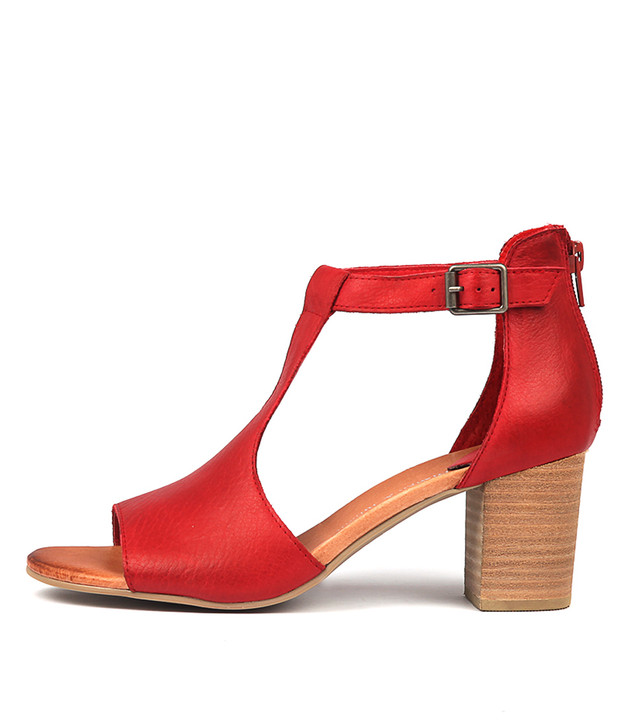 SORELY Sandals Red Leather