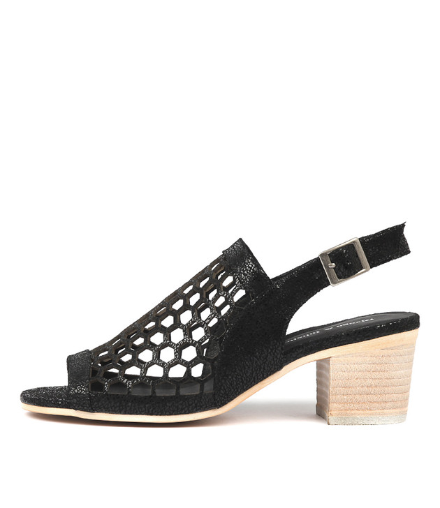 BIKKIS Sandals Black Crackle Leather