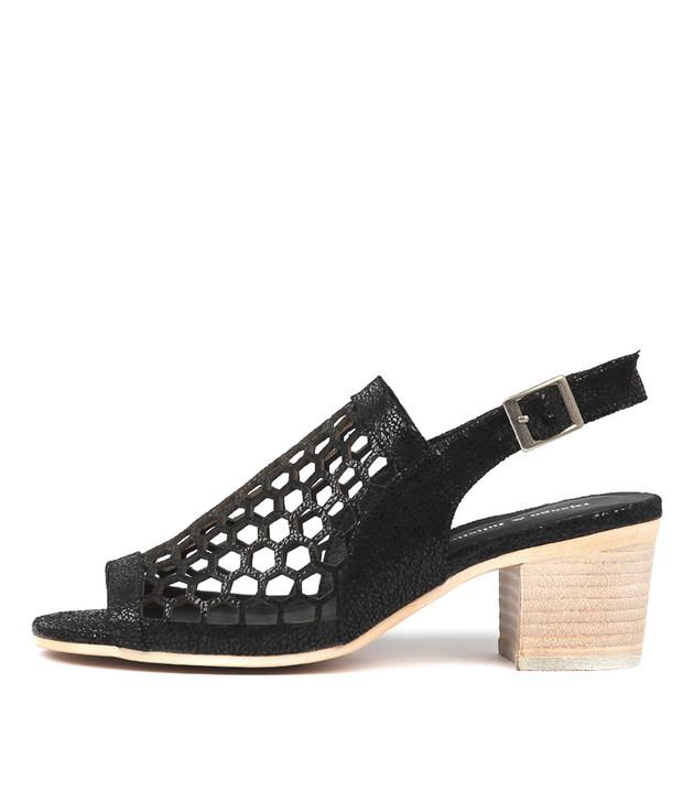 BIKKIS Heeled Sandals in Black Crackle Leather