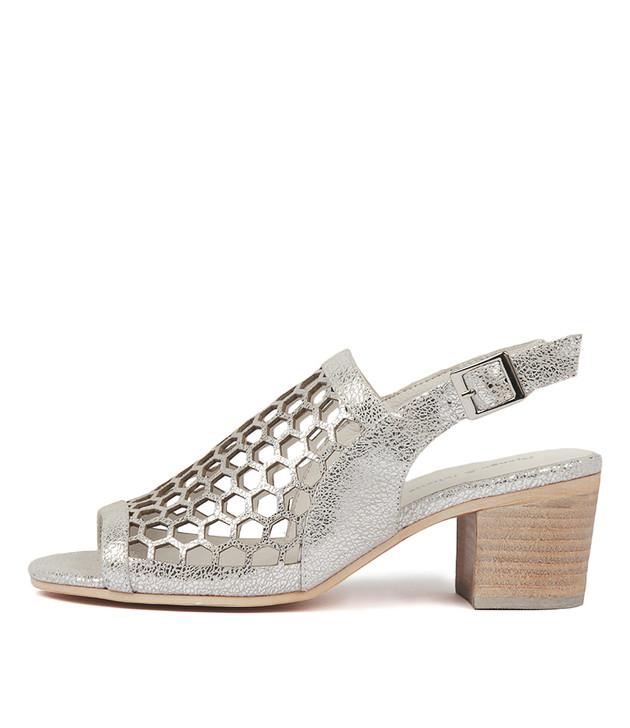 BIKKIS Heeled Sandals in Silver Crackle Leather