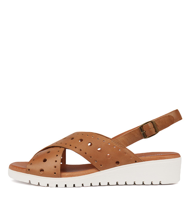 MELIZA Sandals Dark Tan Leather