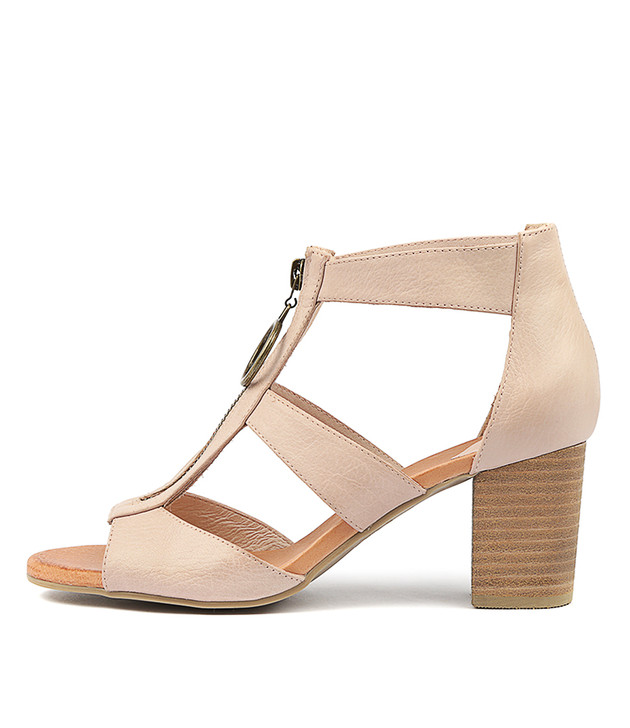 SARITAS Heeled Sandals in Nude Leather
